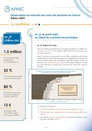 Synthèse de l'Observatoire du marché des noms de domaine ... - Afnic