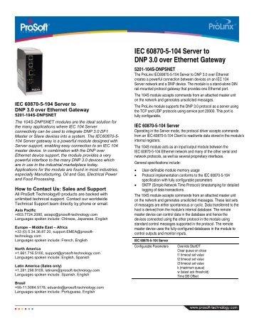 IEC 60870-5-104 Server to DNP 3.0 over Ethernet Gateway