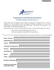 Fragebogen Mentor - MBA Sustainability Management