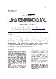 production of vegetable oil fatty acid methyl esters from used frying ...