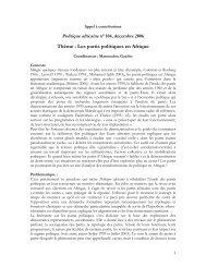 Appel à contributions Politique Africaine n°104, décembre 2006