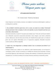 Oftalmologie - Spitalul de Copii Grigore Alexandrescu