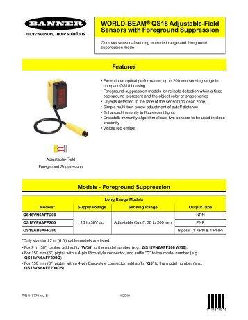 WORLD-BEAM® QS18 Adjustable-Field Sensors with ... - Multiprox