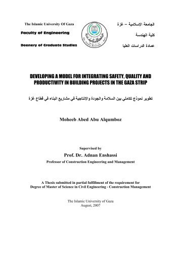 developing a model for integrating safety, quality and productivity in ...