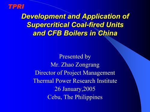 Development and Application of Supercritical Coal-fired Units and ...