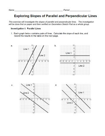 Printables Slopes Of Parallel And Perpendicular Lines Worksheet parallel and perpendicular slopes worksheet davezan 5 8 problem solving of lines
