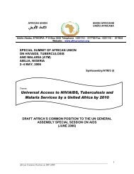 Universal Access to HIV/AIDS, Tuberculosis and ... - African Union