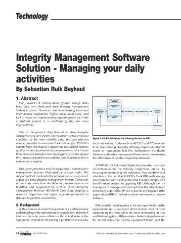 Integrity Management Software Solution - ROSEN Inspection ...