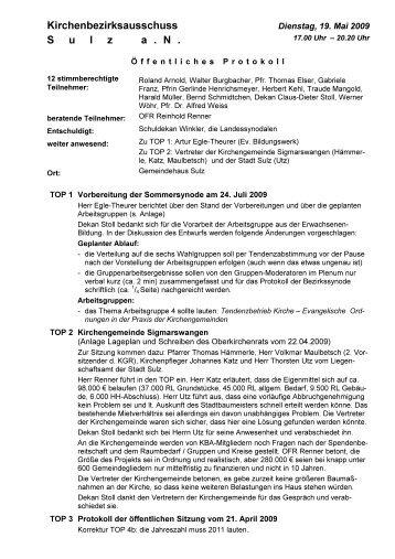 19.05.2009 - Evangelischer Kirchenbezirk Sulz am Neckar
