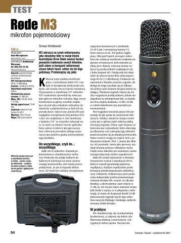 Rode M3 Estrada i Studio październik 2007 - Audiostacja