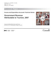 Government Revenue Attributable to Tourism, 2007 - Canadian ...