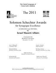 for Israel Masorti Affairs - United Synagogue of Conservative Judaism