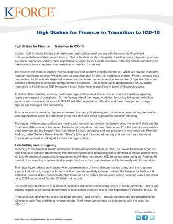 High Stakes for Finance in Transition to ICD-10 - Kforce