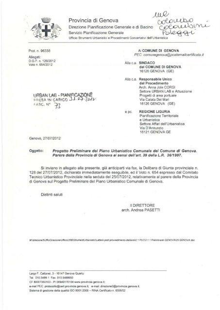 Provincia di Genova - Urban Center - Comune di Genova