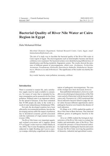Bacterial Quality of River Nile Water at Cairo Region in Egypt