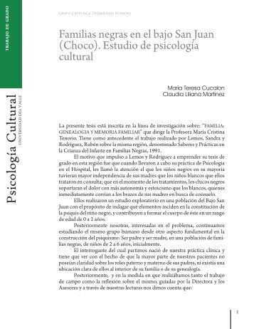 Familias negras en el San Juan (Choco) - Psicologiacultural.org