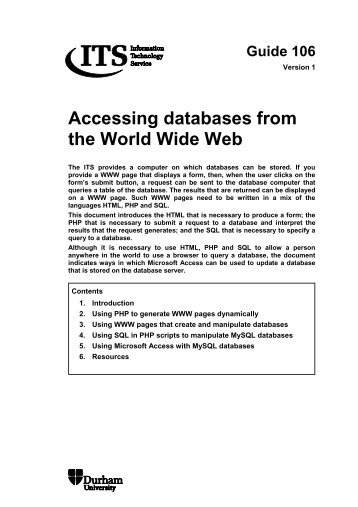 Accessing databases from the World Wide Web