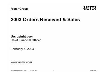 2003 Orders Received & Sales - Rieter
