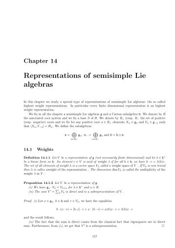 Representations of semisimple Lie algebras