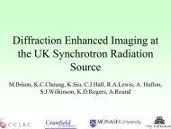 Diffraction Enhanced Imaging at the UK Synchrotron Radiation Source