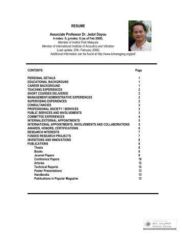 RESUME Associate Professor Dr. Jedol Dayou - SST - Sekolah ...