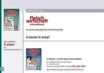 6 issues in 2009! - fleischwirtschaft.com - Allgemeine Fleischer Zeitung