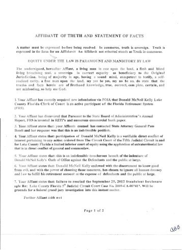 Affidavit Of Truth And Statement Of Facts   National Republic Registry  Affidavit Statement Of Facts