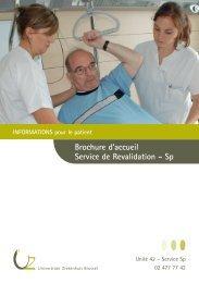 Brochure d'accueil Service de Revalidation - UZ Brussel: Patientinfo