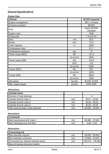 V6 24V Specifications - Ford Scorpio