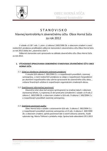 Stanovisko HK k záverečnému účtu obce za rok 2012 ... - Horná Súča