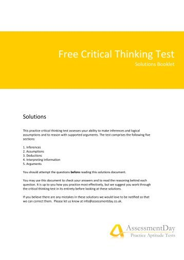 Critical Thinking Competency Standards - Foundation for