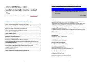 Politikwissenschaft - Universität Bern