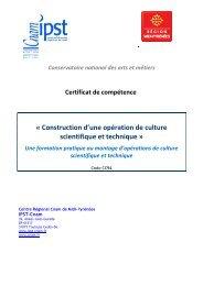 Certificat de compétence - Mission d'animation des Agrobiosciences