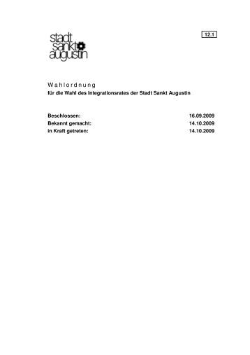 12-1 Wahlordnung fuer die Wahl des Integrationsrates der Stadt ...