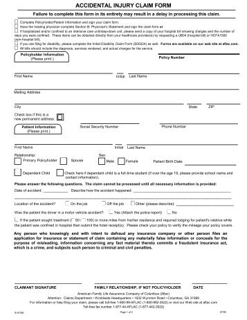 Accidental Injury Claim Form  Aflac