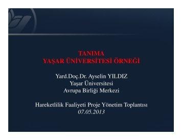 Recognition at Yasar University (Assist. Prof. Dr ... - Yaşar Üniversitesi