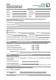 Antrag auf Zulassung zur Diplomarbeit (DPO 2001) - Brunswick ...