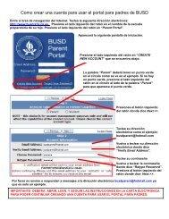 Como crear una cuenta para usar el portal para padres de BUSD