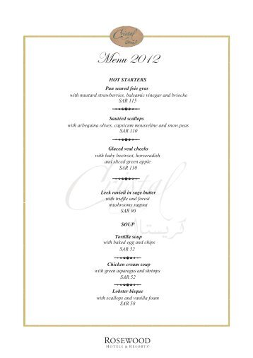 Menu 2012 - Rosewood Hotels & Resorts