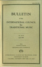 Apr 1999 - International Council for Traditional Music