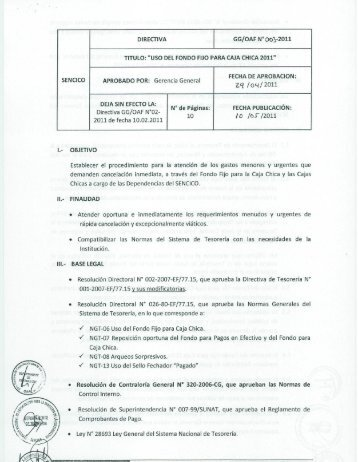 USO DEL FONDO FIJO PARA CAJA CHICA 2011 - Sencico