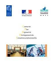 Contrat de Plan Régional de Développement des ... - Centre Inffo