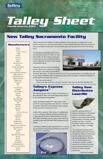 New Talley Sacramento Facility - Talley Inc.