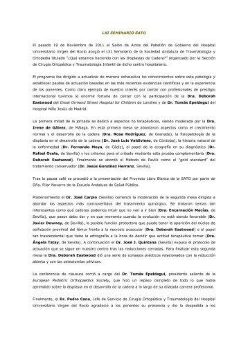 61º Seminario SATO (Sevilla, Nov '11) - Sociedad Andaluza de ...