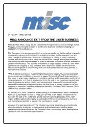 MISC ANNOUNCE EXIT FROM THE LINER BUSINESS