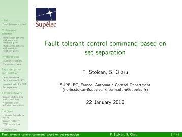 Fault tolerant control command based on set separation