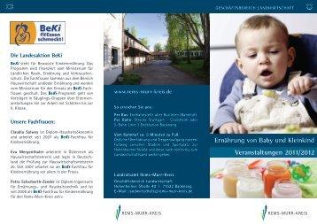 ernährung von Baby und Kleinkind Veranstaltungen 2011/2012