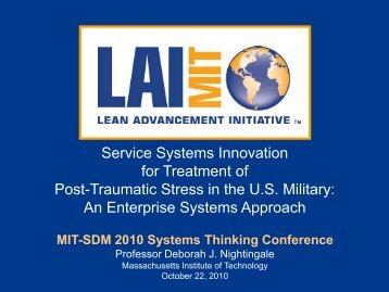 Service Systems Innovation for Treatment of Post ... - MIT SDM