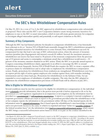The SEC's New Whistleblower Compensation Rules - Ropes & Gray