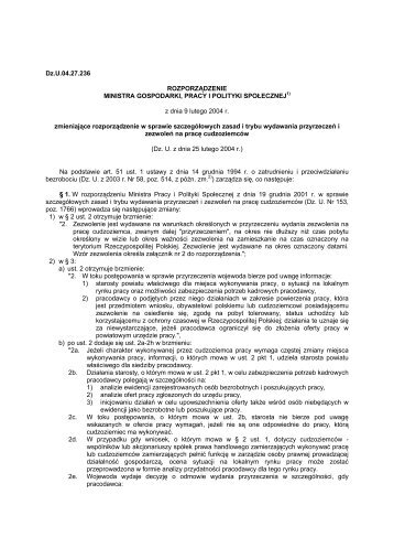 Rozporządzenie Ministra Gospodarki, Pracy i Polityki Społecznej z ...